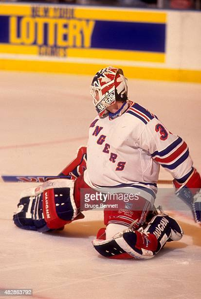 Goalie Mike Richter of the New York Rangers makes the save during Game 5 of the 1994 Eastern Conference Finals against the New Jersey Devils on May...