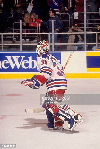 Goalie Mike Richter of the New York Rangers skates on the ice during Game 2 of the 1994 Eastern Conference Finals against the New Jersey Devils on...