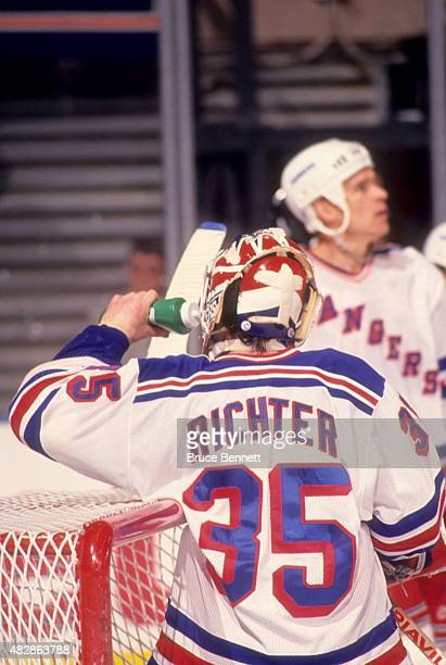 Goalie Mike Richter of the New York Rangers takes a drink of water during Game 2 of the 1994 Eastern Conference Finals against the New Jersey Devils...