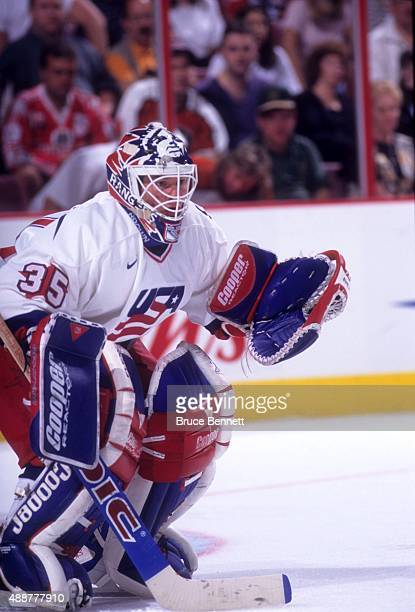 Goalie Mike Richter of the United States defends the net during Game 1 of the 1996 World Cup of Hockey Finals against Canada on September 10 1996 at...