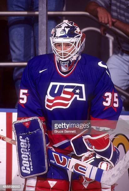 Goalie Mike Richter of the United States stands next to the boards before a game during the 1996 World Cup of Hockey in September 1996 at the Madison...