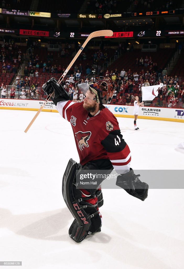 Goalie Mike Smith #41 of the Arizona Coyotes acknowledges the crowd following a 1-0 victory against the Colorado Avalanche at Gila River Arena on March 13, 2017 in Glendale, Arizona. The shutout was a franchise record 22nd for Smith.