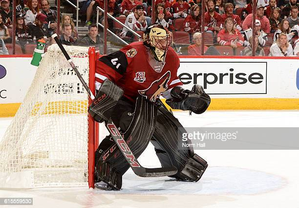 Goalie Mike Smith of the Arizona Coyotes gets ready to make a save against the Philadelphia Flyers at Gila River Arena on October 15 2016 in Glendale...