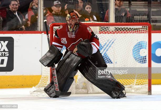 Goalie Mike Smith of the Arizona Coyotes gets ready to make a save against the Colorado Avalanche at Gila River Arena on March 13 2017 in Glendale...