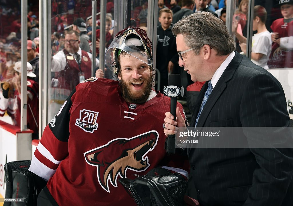 Goalie Mike Smith #41 of the Arizona Coyotes is interviewed by the local Fox affiliate after recording a franchise record 22nd shutout in a 1-0 victory against the Colorado Avalanche at Gila River Arena on March 13, 2017 in Glendale, Arizona.