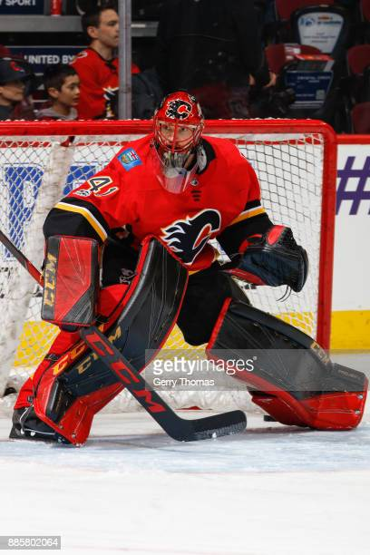 Goalie Mike Smith of the Calgary Flames at warm up in a game against the Philadelphia Flyers at the Scotiabank Saddledome on December 04 2017 in...