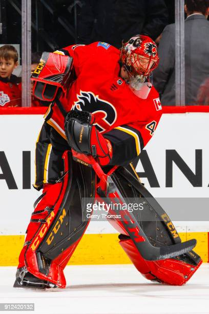 Goalie Mike Smith of the Calgary Flames at warm up in an NHL game on January 30 2018 at the Scotiabank Saddledome in Calgary Alberta Canada
