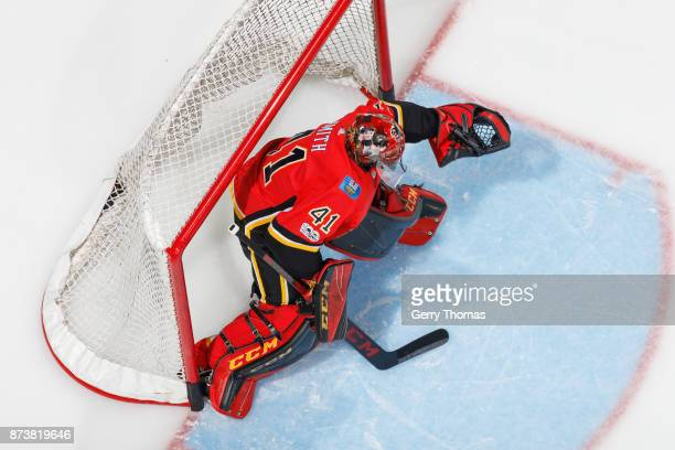Goalie Mike Smith of the Calgary Flames at warm up in an NHL game against the St Louis Blues at the Scotiabank Saddledome on November 13 2017 in...