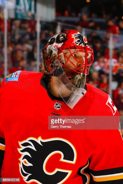Goalie Mike Smith of the Calgary Flames in a game against the Philadelphia Flyers at the Scotiabank Saddledome on December 04 2017 in Calgary Alberta...