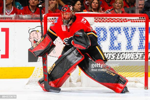 Goalie Mike Smith of the Calgary Flames in a game against the San Jose Sharks at the Scotiabank Saddledome on December 14 2017 in Calgary Alberta...