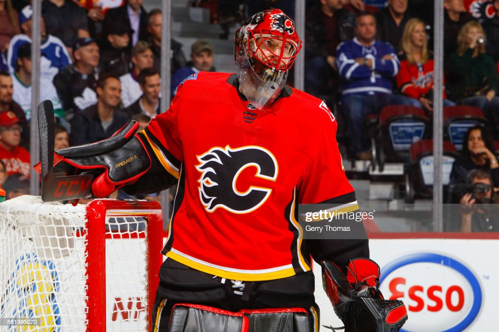 Goalie Mike Smith #41 of the Calgary Flames in an NHL game against the Toronto Maple Leafs at the Scotiabank Saddledome on November 28, 2017 in Calgary, Alberta, Canada.