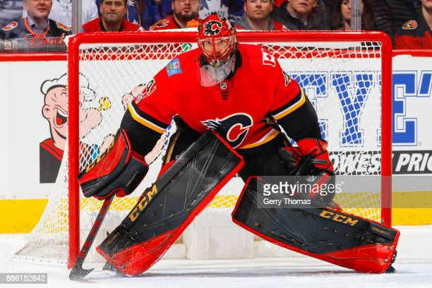 Goalie Mike Smith of the Calgary Flames in an NHL game against the Toronto Maple Leafs at the Scotiabank Saddledome on November 28 2017 in Calgary...