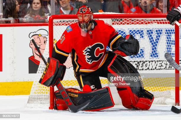Goalie Mike Smith of the Calgary Flames keeps guard in an NHL game on December 31 2017 at the Scotiabank Saddledome in Calgary Alberta Canada