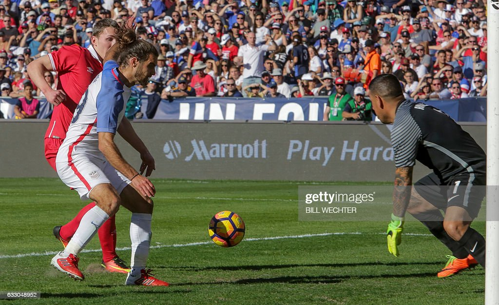 US goalie Nick Rimando moves in to make the save as his teammate Graham Zusi tries to protect the ball and Serbias Marco Mrkic, behind, makes the shot during the second half of a MLS friendly match at Qualcomm Stadium in San Diego, California on January 29, 2017. / AFP / Bill Wechter