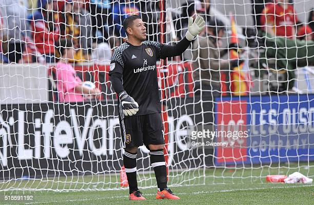 Goalie Nick Rimando of Real Salt Lake directs a play in the game against Seattle Sounders FC at Rio Tinto Stadium on March 12 2016 in Sandy Utah