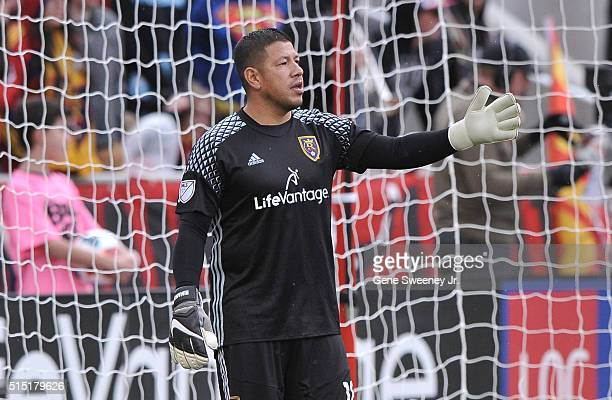 Goalie Nick Rimando of Real Salt Lake directs play in the in the second half of their 21 win over Seattle Sounders FC at Rio Tinto Stadium on March...