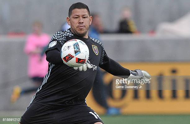 Goalie Nick Rimando of Real Salt Lake eyes the ball in the game against Seattle Sounders FC at Rio Tinto Stadium on March 12 2016 in Sandy Utah