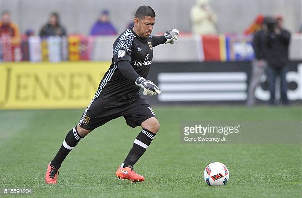 Goalie Nick Rimando of Real Salt Lake kicks the ball against Seattle Sounders FC at Rio Tinto Stadium on March 12 2016 in Sandy Utah