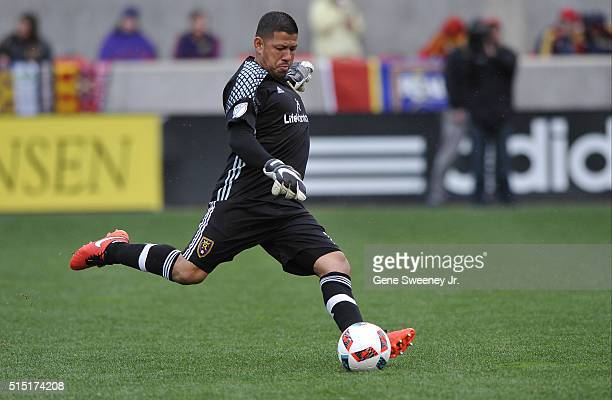 Goalie Nick Rimando of Real Salt Lake kicks the ball down field against Seattle Sounders FC in the second half at Rio Tinto Stadium on March 12 2016...