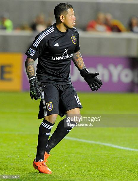Goalie Nick Rimando of Real Salt Lake looks down field during their game against the Portland Timbers at Rio Tinto Stadium April 19 2014 in Sandy Utah