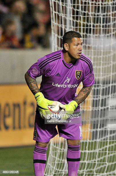 Goalie Nick Rimando of Real Salt Lake looks downfield during their game against the Philadelphia Union at Rio Tinto Stadium on March 14 2015 in Sandy...