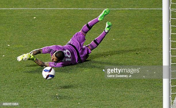 Goalie Nick Rimando of Real Salt Lake makes a first half save against the Philadelphia Union at Rio Tinto Stadium on March 14 2015 in Sandy Utah