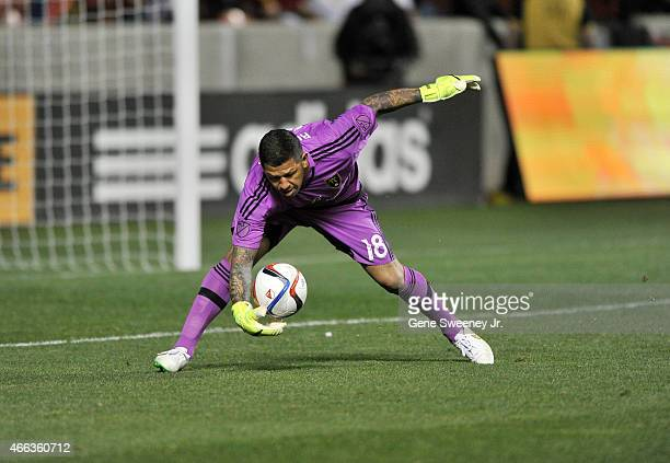 Goalie Nick Rimando of Real Salt Lake makes a late game save against the Philadelphia Union during their 33 tie at Rio Tinto Stadium on March 14 2015...