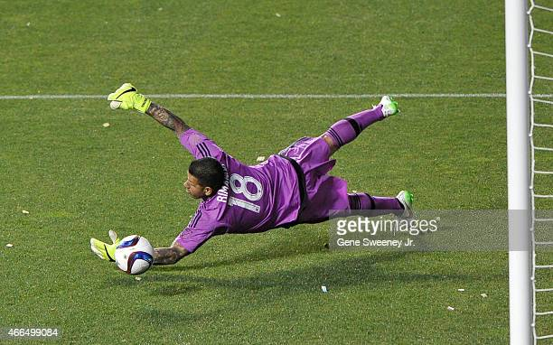 Goalie Nick Rimando of Real Salt Lake makes a save during their game against the Philadelphia Union at Rio Tinto Stadium on March 14 2015 in Sandy...