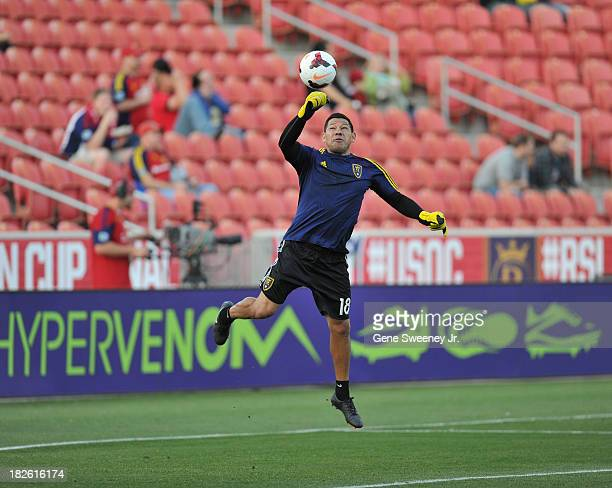 Goalie Nick Rimando of Real Salt Lake practices before a game against DC United at Rio Tinto Stadium October 1 2013 in Sandy Utah