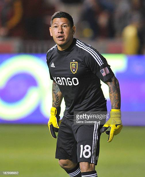 Goalie Nick Rimando of Real Salt Lake readies for a corner kick during the 2013 US Open Cup Final against DC United at Rio Tinto Stadium October 1...