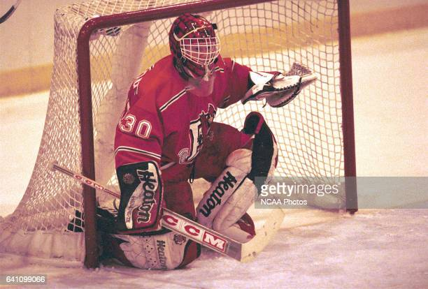 Goalie Niklas Sunberg of Plattsburg State University guards the nets during the 2001 NCAA Men's Ice Hockey Championship held at Ritter Memorial Arena...