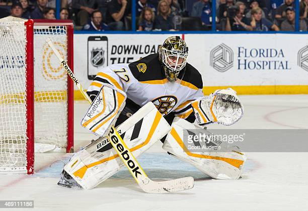 Goalie Niklas Svedberg of the Boston Bruins against the Tampa Bay Lightning at the Amalie Arena on March 22 2015 in Tampa Florida