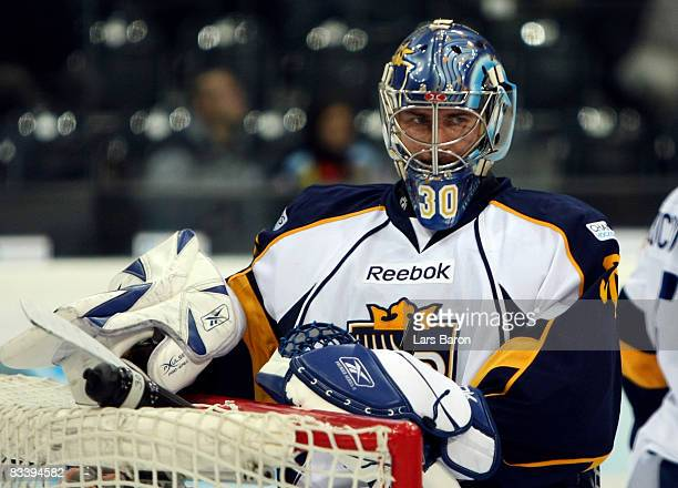 Goalie of Bernd Bruckler of Espoo is seen during the IIHF Champions Hockey League match between SC Bern and Espoo Blues at the PostFinance Arena on...