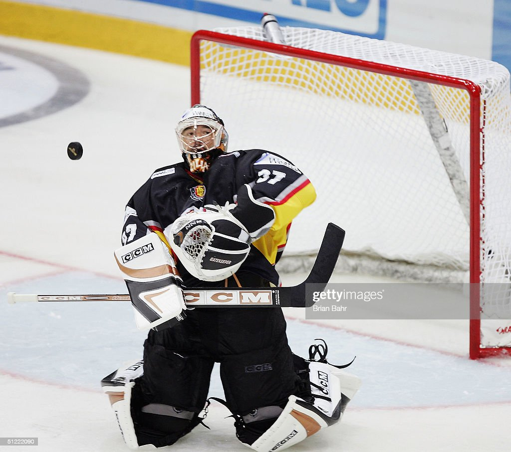 Goalie Olaf Kolzig Of Germany Stretches To Block A Shot Against