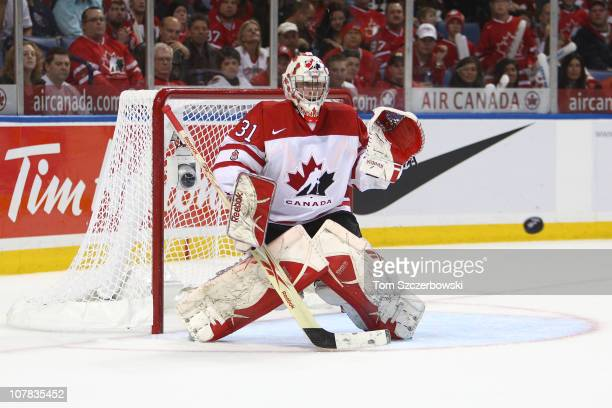 Goalie Olivier Roy of Canada makes a save during the 2011 IIHF World U20 Championship game between Canada and Sweden on December 31 2010 at HSBC...