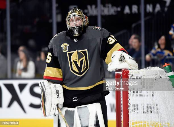 Goalie Oscar Dansk of the Vegas Golden Knights looks on against the St Louis Blues at TMobile Arena on October 21 2017 in Las Vegas Nevada The Golden...
