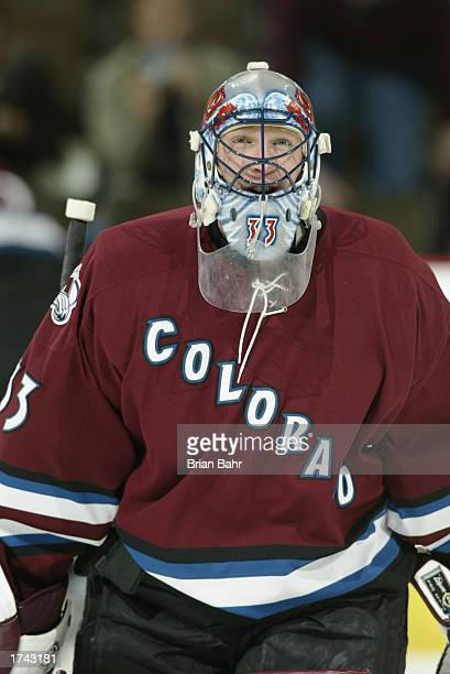 Goalie Patrick Roy of the Colorado Avalanche warms up before a game against the Calgary Flames January 7 at the Pepsi Center in Denver, Colorado. The...