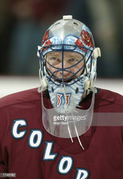 Goalie Patrick Roy of the Colorado Avalanche warms up before a game against the Calgary Flames January 7 at the Pepsi Center in Denver Colorado The...