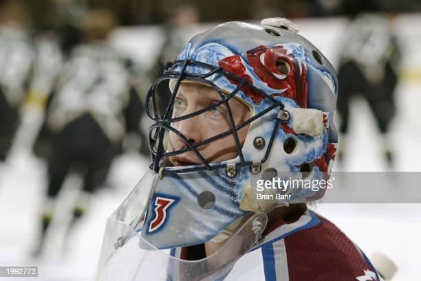 Goalie Patrick Roy of the Colorado Avalanche warms up before a game against the Dallas Stars at the Pepsi Center on January 20 2003 in Denver...