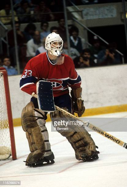 Goalie Patrick Roy of the Montreal Canadiens defends the net against the New York Rangers during the 1986 Eastern Conference Finals in May 1986 at...