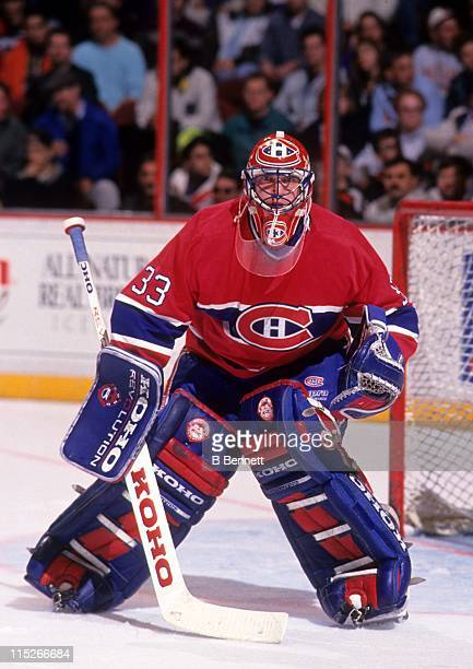 Goalie Patrick Roy of the Montreal Canadiens defends the net during an NHL game against the Philadelphia Flyers circa 1992 at the Spectrum in...