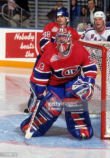 Goalie Patrick Roy of the Montreal Canadiens defends the net during an NHL game against the New York Rangers on October 23 1992 at the Madison Square...