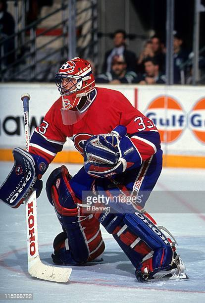 Goalie Patrick Roy of the Montreal Canadiens defends the net during an NHL game circa 1993.