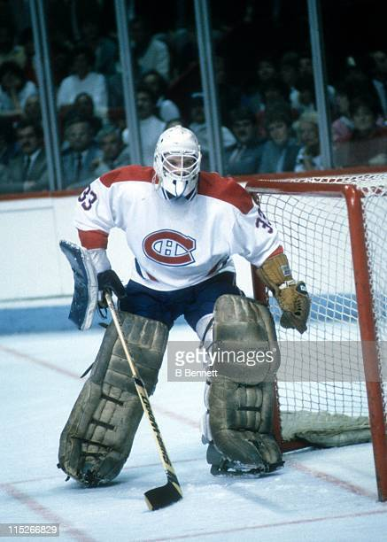 Goalie Patrick Roy of the Montreal Canadiens defends the net during an NHL playoff game in May 1986 at the Montreal Forum in Montreal Quebec Canada