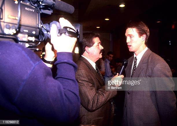 Goalie Patrick Roy of the Montreal Candiens talks to a reporter after being traded to the Colorado Avalanche in December 1995 in Montreal Quebec...