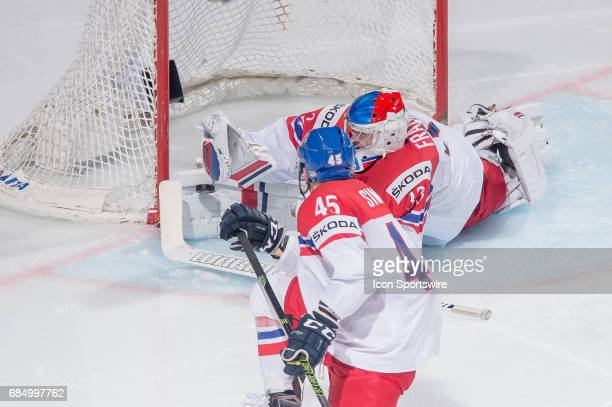 Goalie Pavel Francouz makes a save during the Ice Hockey World Championship Quarterfinal between Russia and Czech Republic at AccorHotels Arena in...