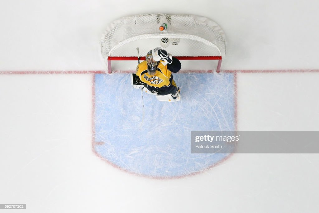 Goalie Pekka Rinne #35 of the Nashville Predators celebrates against the Pittsburgh Penguins in the third period during Game Four of the 2017 NHL Stanley Cup Final at Bridgestone Arena on June 5, 2017 in Nashville, Tennessee.