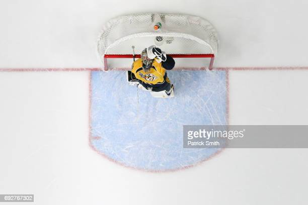 Goalie Pekka Rinne of the Nashville Predators celebrates against the Pittsburgh Penguins in the third period during Game Four of the 2017 NHL Stanley...