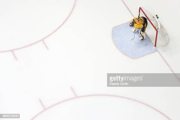 Goalie Pekka Rinne of the Nashville Predators looks on after allowing the gamewinning goal by Patric Hornqvist of the Pittsburgh Penguins in the...