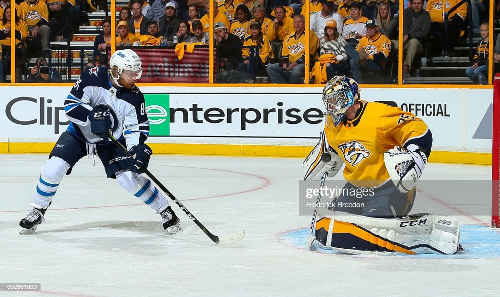 Goalie Pekka Rinne #35 of the Nashville Predators makes a save on a shot by Kyle Connor #81 of the Winnipeg Jets during the second period in Game Two of the Western Conference Second Round during the 2018 NHL Stanley Cup Playoffs at Bridgestone Arena on April 29, 2018 in Nashville, Tennessee.